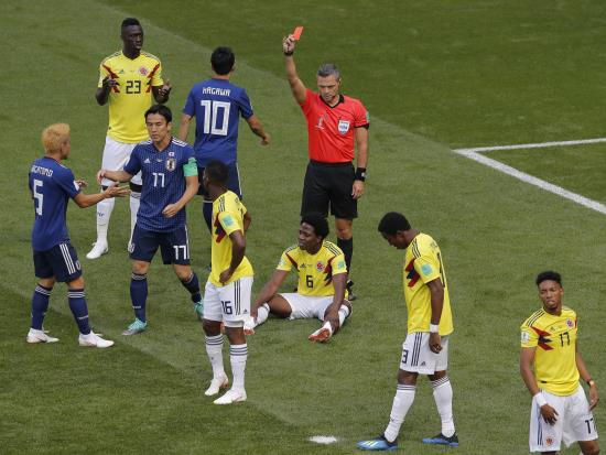Early red card costs Colombia as unfancied Japan claim shock win
