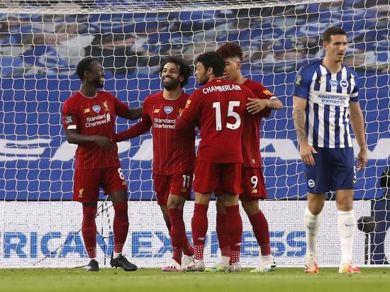 Brighton 1 - 3 Liverpool: Liverpool remain on course for Premier League record after Mohamed Salah brace