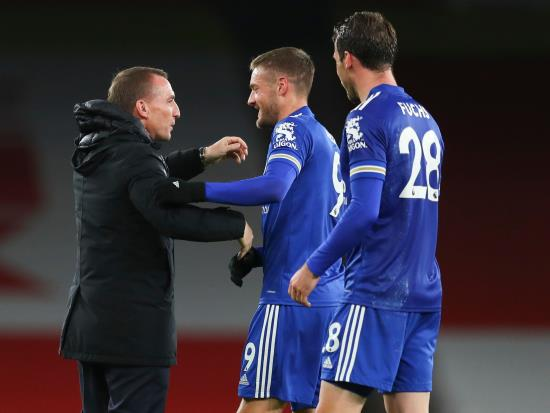 Brendan Rodgers hails Jamie Vardy as substitute earns Foxes rare win at Arsenal