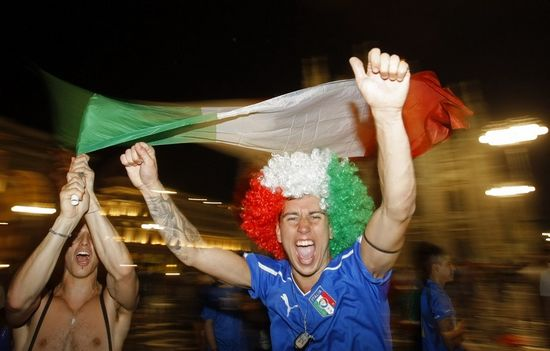 Italy's fans celebrated wildly