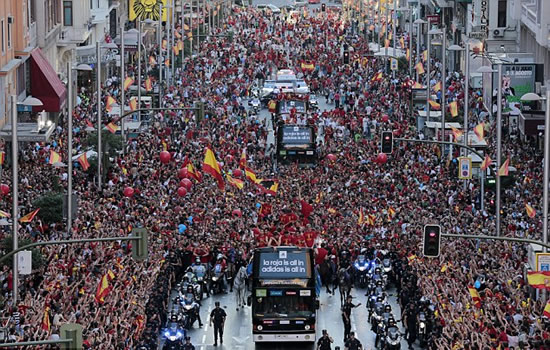 Welcome home! History boys Spain greeted by jubilant fans in Madrid after Euro glory