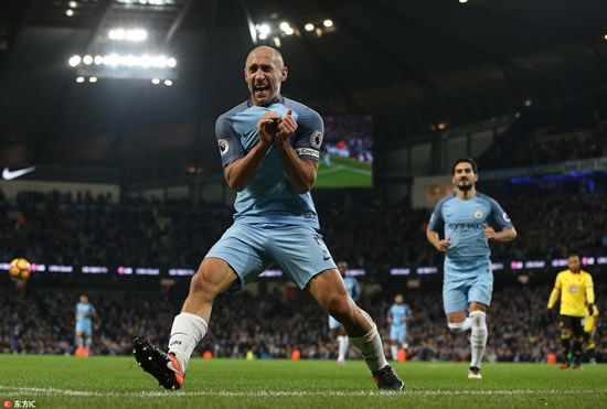 Manchester City 2 - 0 Watford: Pablo Zabaleta and David Silva fire Manchester City to victory