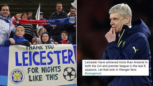Arsenal trolled as Leicester City reach the quarter-finals of the Champions League