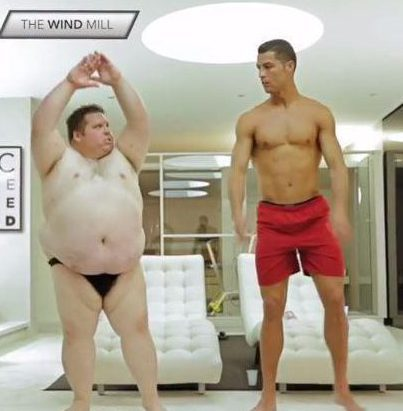 Cristiano Ronaldo in bizarre comedy fitness video with overweight actor
