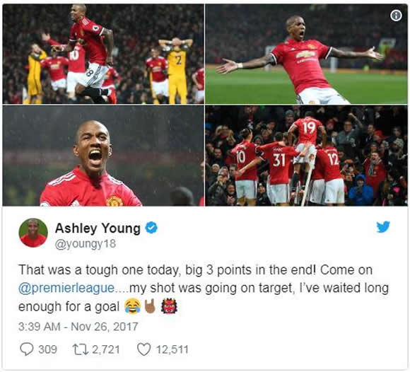 Anthony Martial pokes fun at Ashley Young after Man United win over Brighton
