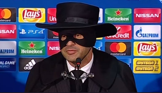 Shakhtar manager Paulo Fonseca dresses up as Zorro at press conference after they beat Manchester City to reach last 16