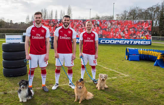 Jack Wilshere, Calum Chambers and Sead Kolasinac tackle dog agility course with their canine friends in bizarre PR stunt for official tyres partner