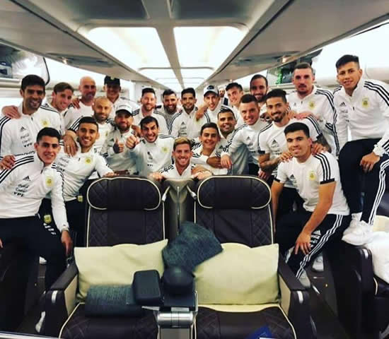 Spain and Argentina pose for eerily similar plane photos ahead of flights to Russia for World Cup