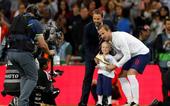 England captain Harry Kane comforts young mascot in touching footage as he gives him helping hand before Spain clash
