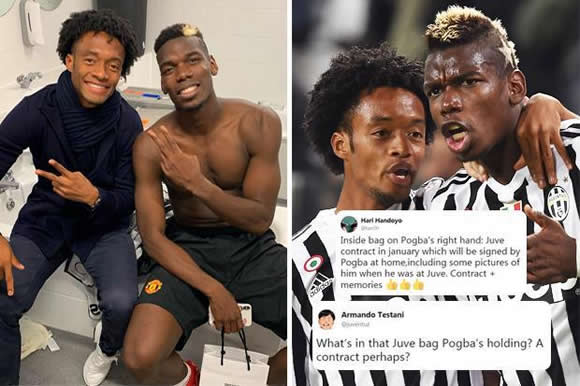 Smiling Paul Pogba blasted by Manchester United fans for posing with Juventus gift bag and smiling in away changing room after Champions League defeat