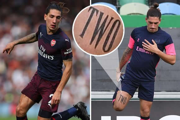 Arsenal star Hector Bellerin shows commitment to Arsenal by getting shirt number tattooed on leg