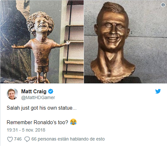 Salah's statue quickly becomes a meme