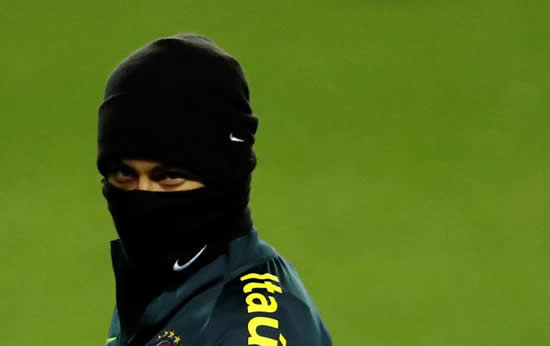 Brazil star Neymar dons snood and hat as Samba Boys swap Copacabana for Milton Keynes as they train for Cameroon friendly