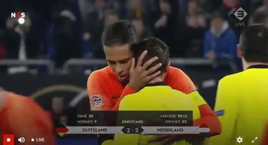 Virgil van Dijk consoles distraught referee in tears at final whistle of Holland clash against Germany after official lost his mum