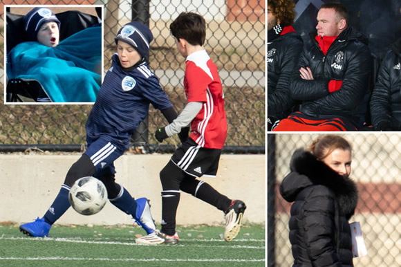 Coleen Rooney watches son Kai play for US kids' team… and he even copies dad Wayne when subbed