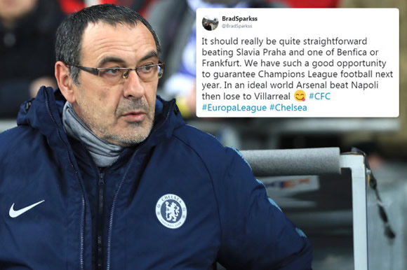 Chelsea fans urge Sarri to 'f*** off the Prem' as they eye easy Europa route to Champions League qualification
