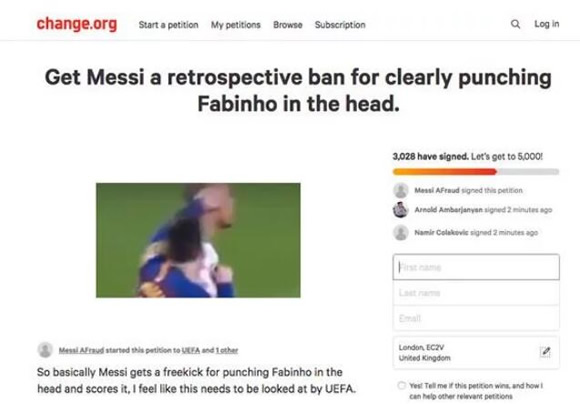 Lionel Messi to be BANNED? Desperate Liverpool fans start petition after Fabinho 'punch'