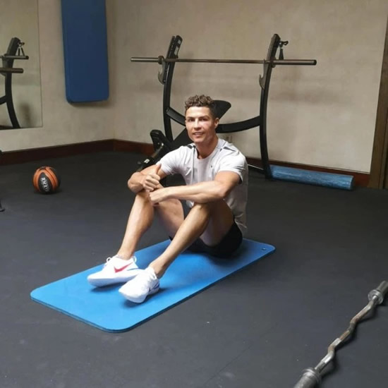 Cristiano Ronaldo gets on exercise bike after winning Nations League with Portugal – with Juventus star not ready to put feet up yet