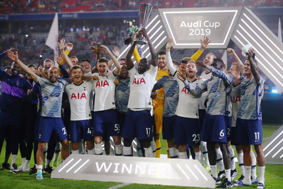 Tottenham celebrate Audi Cup after penalty shootout win… much to the amusement of rival fans on social media