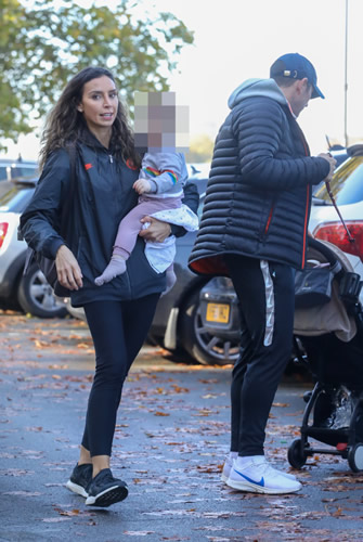 Frank Lampard's wife Christine wears Chelsea tracksuit as they take 13-month-old daughter Patricia out for a walk