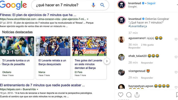 Levante joke at Barcelona's expense with Google search
