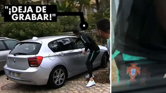 Cristiano Ronaldo 'steals' a phone from a fan recording him from a car