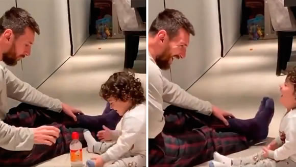 Messi amuses son with bottle flipping