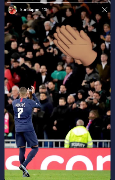 Mbappe applauds the Bernabeu on social media