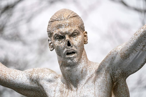 Zlatan Ibrahimovic statue vandalised for second time as star looks for new club