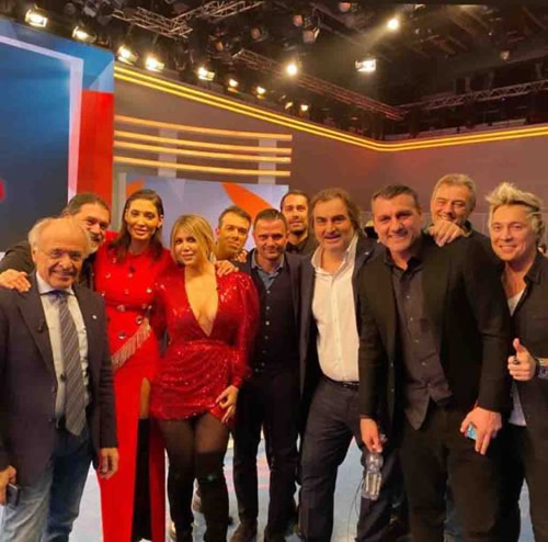 Wanda Nara shows off cleavage in plunging red dress in last 2019 episode of Italy's version of Match of the Day