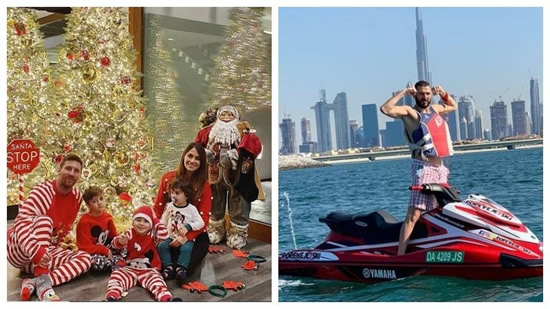 Messi and Benzema's very different Christmas photos