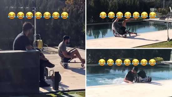 Diego Costa enjoys his brother's fall into a swimming pool