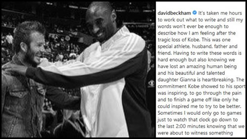 Beckham on Kobe: Sometimes I'd only go to games for the last two minutes knowing that we'd witness something special