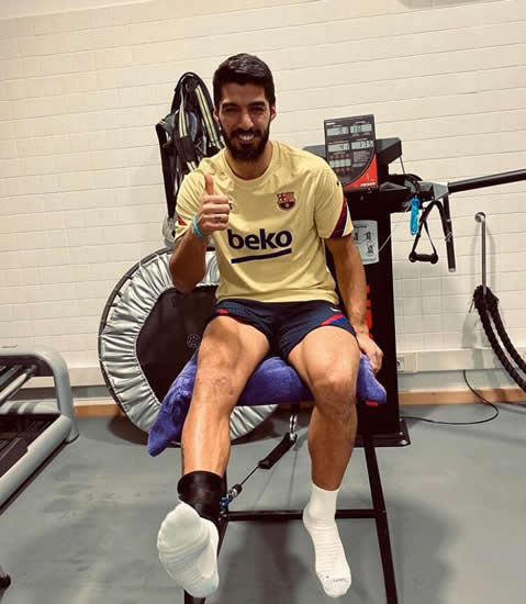 LET'S GET PHYSIO Luis Suarez hits gym as Barcelona star battles for return from knee injury that has kept him out for a month