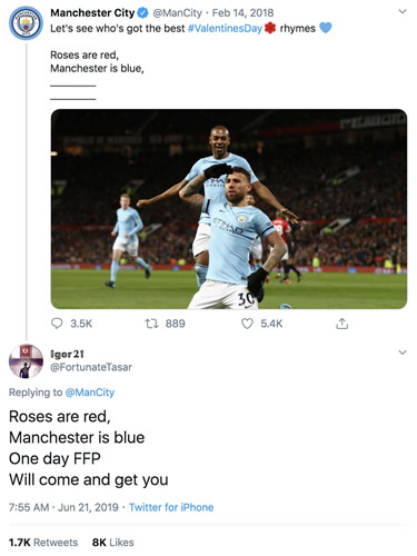 Liverpool fan dubbed 'time traveller' for Valentine's tweet over Man City ban in 2019