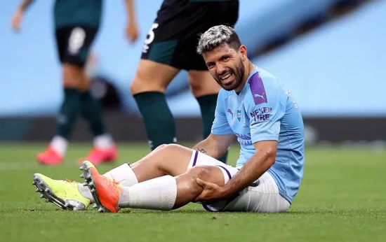 'ALL WENT WELL' Sergio Aguero pictured in hospital bed after emergency knee surgery as Man City star thanks fans for support