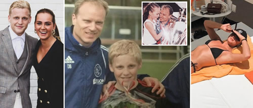 Man Utd target Donny van de Beek dates Dennis Bergkamp's daughter Estelle, and was spotted by Arsenal icon at 10