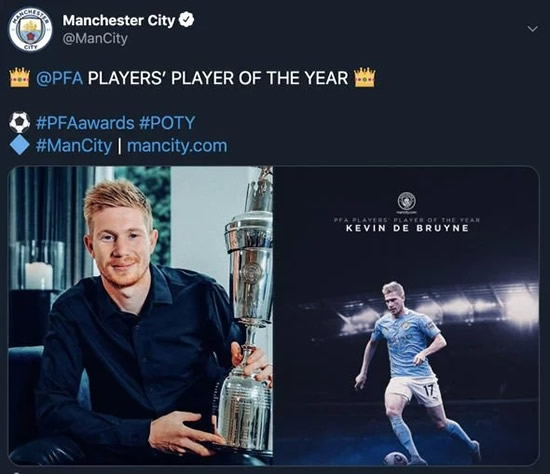 PFA Player of the Year: Man City star Kevin De Bruyne beats Liverpool quartet to win award