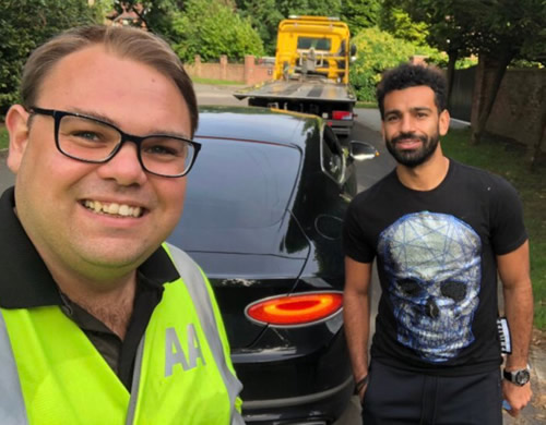 Mohamed Salah suffers puncture driving £160k Bentley Continental GT with Liverpool star saved by AA while on side of M6