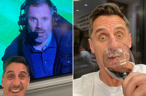 Gary Neville toasts Liverpool's 7-2 drubbing at Aston Villa with a glass of wine… just hours after Man Utd lost 6-1
