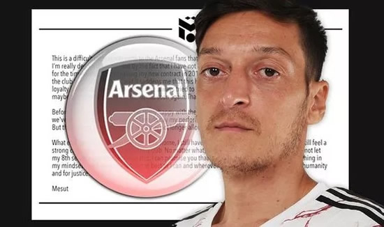 Mesut Ozil slams Arsenal and Mikel Arteta in angry statement over Premier League snub