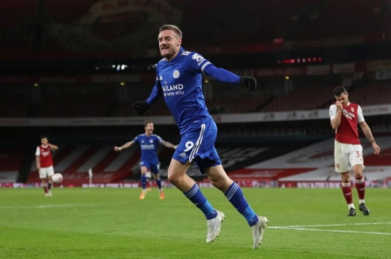 GUARD OF HONOUR Vardy has fans in stitches with Leicester star shown with 'chat s***, get banged' shin pads before scoring at Arsenal