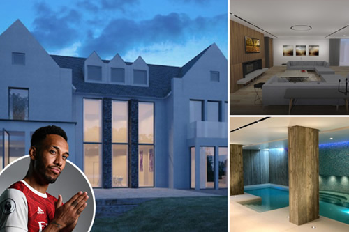 Inside Pierre-Emerick Aubameyang's luxury new bespoke mansion with pool, Jacuzzi, bar, steam room, sauna and gym