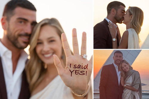 Watch romantic West Ham transfer target Pelle propose to stunning model girlfriend Viktoria Varga on HELICOPTER pad