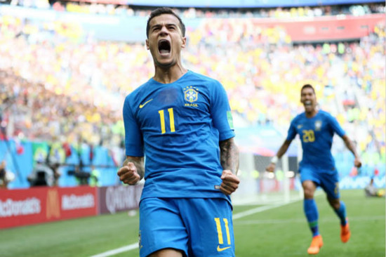 Brazil 2 Costa Rica 0: Coutinho and Neymar score in stoppage time to snatch win