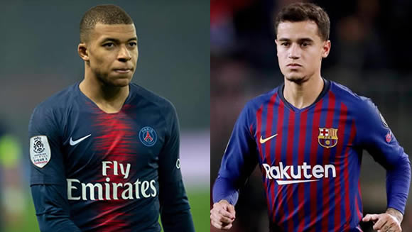Barcelona could tempt Paris Saint-Germain into selling Kylian Mbappe by using Philippe Coutinho as bait